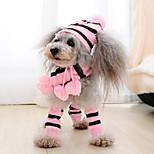 economico -Prodotti per cani Prodotti per gatti Animali domestici Bandane e cappelli Sciarpa per cani Accenti del piede A strisce Cosplay Natale Inverno Abbigliamento per cani Vestiti del cucciolo Abiti per cani
