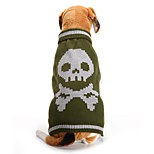 economico -Prodotti per cani Costumi Halloween Maglioni Vestiti del cucciolo Teschi Halloween Inverno Abbigliamento per cani Vestiti del cucciolo Abiti per cani Verde Costume per ragazza e ragazzo cane Fibra