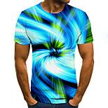 abordables -Homme T-shirt Bloc de Couleur 3D Grandes Tailles Imprimé Manches Courtes Quotidien Hauts basique Exagéré Bleu
