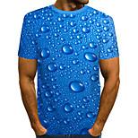 abordables -Homme T-shirt Impression 3D Graphique Bière Grandes Tailles Plissé Imprimé Manches Courtes Quotidien Hauts Chic de Rue Exagéré Bleu