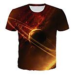 abordables -Homme T-shirt Galaxie Graphique 3D Grandes Tailles Imprimé Manches Courtes Quotidien Hauts basique Exagéré Orange