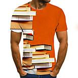 abordables -Homme T-shirt Graphique Bloc de Couleur 3D Grandes Tailles Imprimé Manches Courtes Quotidien Hauts basique Exagéré Orange