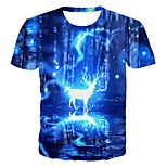 abordables -Homme T-shirt Graphique 3D Animal Grandes Tailles Imprimé Manches Courtes Quotidien Hauts basique Exagéré Bleu