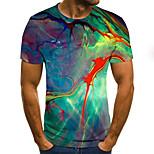 economico -Per uomo maglietta Pop art 3D Taglie forti Con stampe Manica corta Quotidiano Top Essenziale Esagerato Arcobaleno