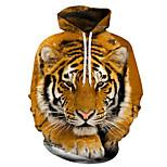 economico -Per uomo Unisex Felpa con cappuccio pullover Tigre Feste Quotidiano Per eventi Stampa 3D Casuale Halloween Felpe con cappuccio Felpe Giallo Oro Marrone