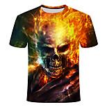 abordables -Homme T-shirt Graphique 3D Crânes Grandes Tailles Manches Courtes Quotidien Hauts Arc-en-ciel