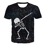 economico -Per uomo maglietta Pop art 3D Teschi Taglie forti Con stampe Manica corta Quotidiano Top Essenziale Esagerato Nero