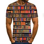 abordables -Homme T-shirt à imprimé arc-en-ciel Bloc de Couleur 3D Grandes Tailles Imprimé Manches Courtes Quotidien Hauts basique Exagéré Arc-en-ciel
