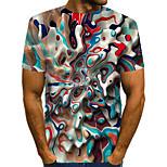 abordables -Homme T-shirt Graphique Abstrait Grandes Tailles Plissé Imprimé Manches Courtes Quotidien Hauts Chic de Rue Exagéré Arc-en-ciel