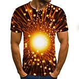 abordables -Homme T-shirt Géométrique 3D Grandes Tailles Imprimé Manches Courtes Quotidien Hauts basique Chic de Rue Noir