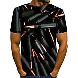 abordables -Homme T-shirt 3D Grandes Tailles Imprimé Manches Courtes Quotidien Hauts basique Noir