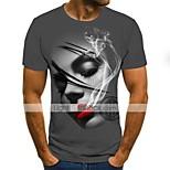 abordables -Homme T-shirt 3D Grandes Tailles Imprimé Manches Courtes Quotidien Hauts basique Gris
