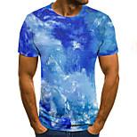 abordables -Homme T-shirt Graphique Paysage 3D Grandes Tailles Imprimé Manches Courtes Quotidien Hauts basique Exagéré Bleu