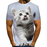 abordables -Homme T-shirt Graphique Géométrique 3D Animal Grandes Tailles Plissé Imprimé Manches Courtes Quotidien Hauts Chic de Rue Exagéré Gris