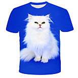 economico -Per uomo maglietta Pop art 3D Animali Con stampe Manica corta Quotidiano Top Moda città Esagerato Blu