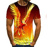 abordables -Homme T-shirt Graphique 3D Animal Grandes Tailles Imprimé Manches Courtes Quotidien Hauts basique Exagéré Orange