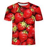 economico -Per uomo maglietta Fantasia geometrica Taglie forti Con stampe Manica corta Quotidiano Top Essenziale Moda città Rosso