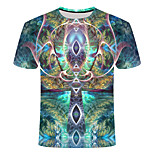 abordables -Homme T-shirt Géométrique Grandes Tailles Imprimé Manches Courtes Quotidien Hauts basique Chic de Rue Bleu