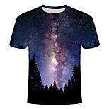 economico -Per uomo maglietta Fantasia geometrica Taglie forti Con stampe Manica corta Quotidiano Top Essenziale Moda città Blu