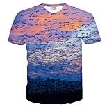 abordables -Homme T-shirt Bloc de Couleur 3D Grandes Tailles Manches Courtes Quotidien Hauts basique Bleu clair