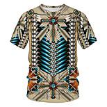 abordables -Homme T-shirt Couleur Pleine Tribal 3D Patchwork Imprimé Manches Courtes Quotidien Hauts basique Chic de Rue Kaki