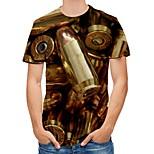 abordables -Homme T-shirt Bloc de Couleur Abstrait 3D Imprimé Manches Courtes Quotidien Hauts Chic de Rue Punk et gothique Dorée
