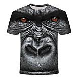 economico -Per uomo maglietta Fantasia geometrica Taglie forti Con stampe Manica corta Quotidiano Top Essenziale Moda città Nero