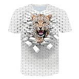 abordables -Homme T-shirt Graphique 3D Animal Grandes Tailles Imprimé Manches Courtes Quotidien Hauts basique Exagéré Blanche