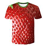 economico -Per uomo maglietta Monocolore 3D Frutta Taglie forti Con stampe Manica corta Quotidiano Top Essenziale Esagerato Rosso