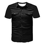 abordables -Homme T-shirt Couleur Pleine Abstrait Imprimé Manches Courtes Sortie Hauts Entreprise Chic de Rue Noir
