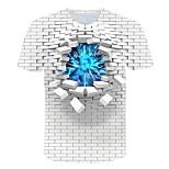 abordables -Homme T-shirt Graphique Bloc de Couleur 3D Grandes Tailles Imprimé Manches Courtes Quotidien Hauts basique Exagéré Blanche