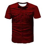 abordables -Homme T-shirt Couleur Pleine Abstrait 3D Imprimé Manches Courtes Sortie Hauts Entreprise Chic de Rue Vin