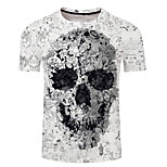 abordables -Homme T-shirt Crânes Grandes Tailles Imprimé Manches Courtes Quotidien Hauts Exagéré Blanche