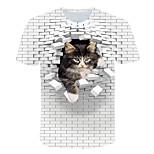 economico -Per uomo maglietta Monocolore 3D Animali Taglie forti Con stampe Manica corta Quotidiano Top Essenziale Esagerato Bianco