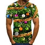 abordables -Homme T-shirt Bloc de Couleur 3D Grandes Tailles Imprimé Manches Courtes Quotidien Hauts basique Exagéré Arc-en-ciel