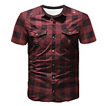 abordables -Homme T-shirt Graphique Bloc de Couleur Abstrait Imprimé Manches Courtes Sortie Hauts Entreprise Chic de Rue Vin