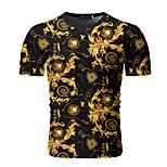 abordables -Homme T-shirt Géométrique Manches Courtes Quotidien Hauts Noir
