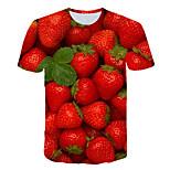 abordables -Homme T-shirt Bloc de Couleur 3D Fruit Grandes Tailles Imprimé Manches Courtes Quotidien Hauts basique Exagéré Rouge