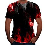 abordables -Homme T-shirt Graphique 3D Grandes Tailles Imprimé Manches Courtes Quotidien Hauts basique Noir