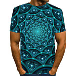 abordables -Homme T-shirt Graphique Géométrique 3D Grandes Tailles Plissé Imprimé Manches Courtes Quotidien Hauts Chic de Rue Exagéré Arc-en-ciel