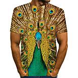 abordables -Homme T-shirt Bloc de Couleur Abstrait 3D Grandes Tailles Imprimé Manches Courtes Quotidien Hauts Chic de Rue Exagéré Vert