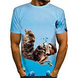 abordables -Homme T-shirt Graphique 3D Animal Grandes Tailles Imprimé Manches Courtes Quotidien Hauts basique Chic de Rue Bleu clair