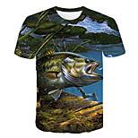 abordables -Homme T-shirt Géométrique 3D Grandes Tailles Imprimé Manches Courtes Quotidien Hauts basique Chic de Rue Bleu