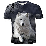 abordables -Homme T-shirt 3D Animal Imprimé Manches Courtes Quotidien Hauts Chic de Rue Exagéré Arc-en-ciel