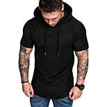 abordables -Homme T-shirt Couleur Pleine Manches Courtes Quotidien Hauts basique Noir Kaki Vert