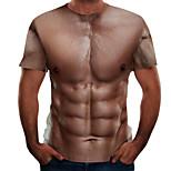 abordables -Homme T-shirt Bloc de Couleur 3D Simulation Grandes Tailles Imprimé Manches Courtes Quotidien Hauts basique Chic de Rue Marron
