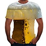 abordables -Homme T-shirt Graphique 3D Bière Grandes Tailles Manches Courtes Sortie Hauts basique Jaune