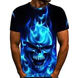 abordables -Homme T-shirt Bloc de Couleur 3D Crânes Grandes Tailles Imprimé Manches Courtes Quotidien Hauts Roche Exagéré Arc-en-ciel