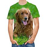 abordables -Homme T-shirt Bloc de Couleur 3D Animal Grandes Tailles Imprimé Manches Courtes Quotidien Hauts Roche Chic de Rue Vert