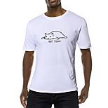 abordables -Homme T-shirt Couleur Pleine Lettre Animal Imprimé Manches Courtes Quotidien Hauts Coton Entreprise basique Blanche Noir Bleu